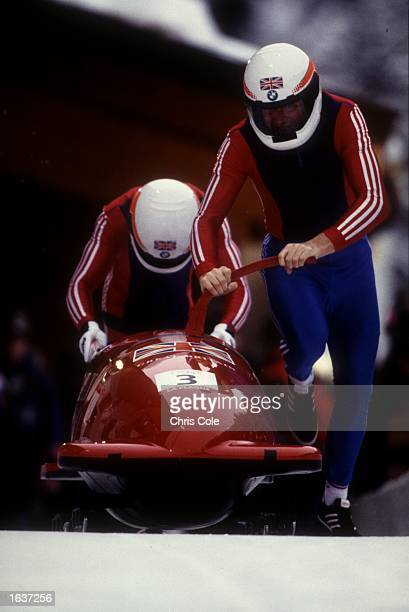 MARK TOUT AND PAUL LENOX OF GREAT BRITAIN START THE GBR1 TWO MAN BOBSLED IN THE FIRST RUN ACTION ON DAY8 OF THE 1992 ALBERTVILLE WINTER OLYMPICS