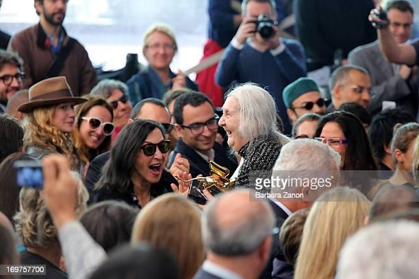 Italian artist Marisa Merz wins the Golden Lion Lifetime Achievement during The 55th International Art Exhibition at Giardini on June 1 2013 in...