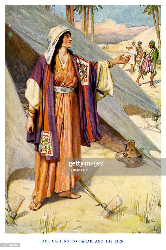 Deborah; Prophetess and Judge - caption reads, 'Jael calling to Barak and his men.' Judges 4:22, 'Jael came out to meet him, and said unto him, Come, and I will show thee the man whom thou seekest. And when he came into her tent, behold, Sisera lay dead, and the nail was in his temples.' (From The Old Testament Story). c. 1920s. Illustrations by Arthur A. Dixon.