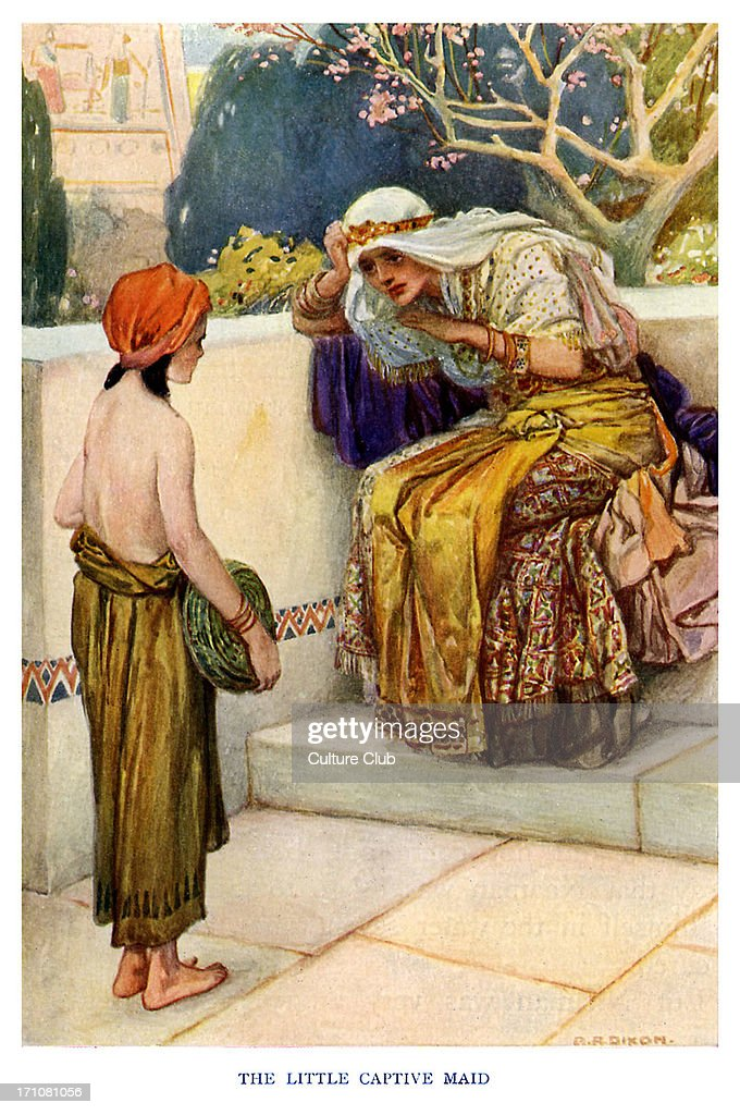 The Little Captive Maid advises Naaman 's wife- 'Kings 5:3 , 'She said to her mistress, 'If only my master would see the prophet who is in Samaria! He would cure him of his leprosy.' (From The Old Testament Story). c. 1920s. Illustrations by Arthur A. Dixon.