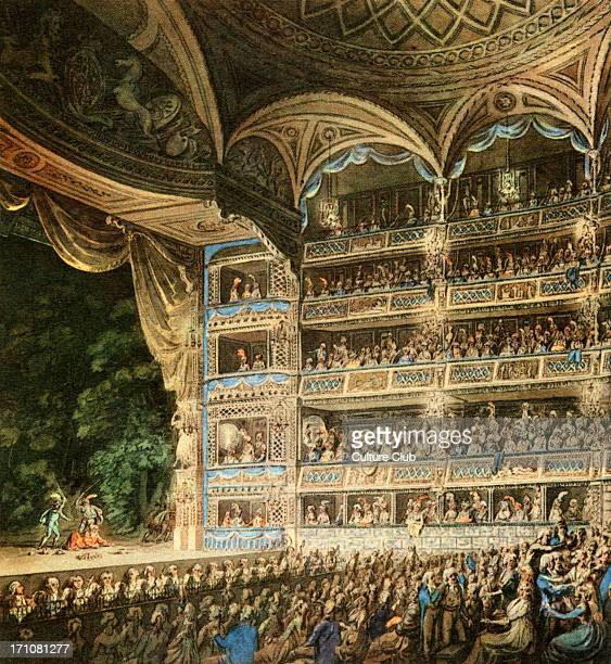 Drury Lane Theatre London interiorbuilt 1794 Detail based on watercolour reproduction by Edward Dayes showing the audience and stage 1795 ED 6 August...