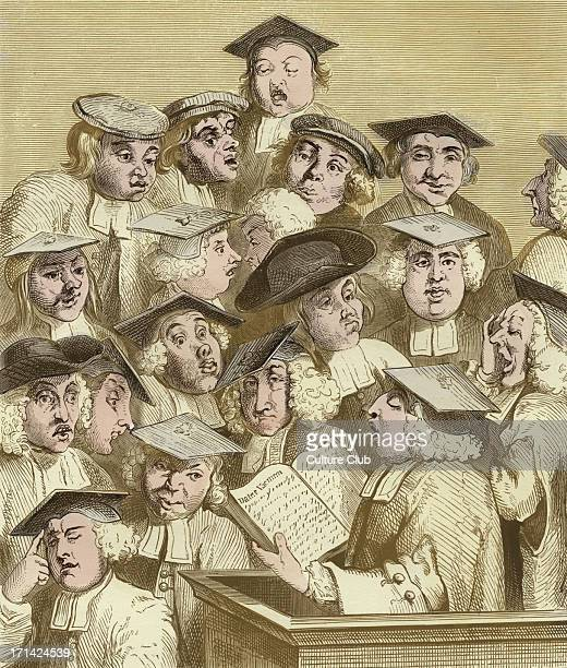 Alma Mater engraving by William Hogarth A professor thought to be William Fisher the Registrar of Oxford gives a lecture entitled 'Datur Vacuum' to...