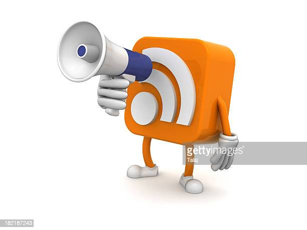 rss - megaphone icon stock photos and pictures