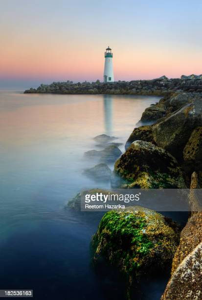 [UNVERIFIED CONTENT] WALTON LIGHT HOUSE SANTA CRUZ CALIFORNIA SUNSET LIGHT STATION BEACH SHORE PACIFIC OCEAN MOSS COLORFUL POSTCARD ROCKS SHORELINE