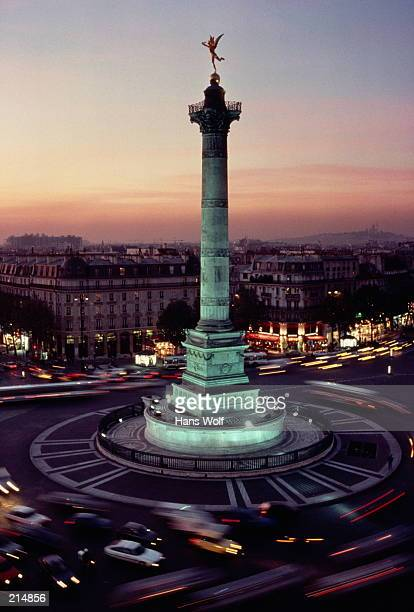 PLACE DE LA BASTILLE AT DUSK IN PARIS