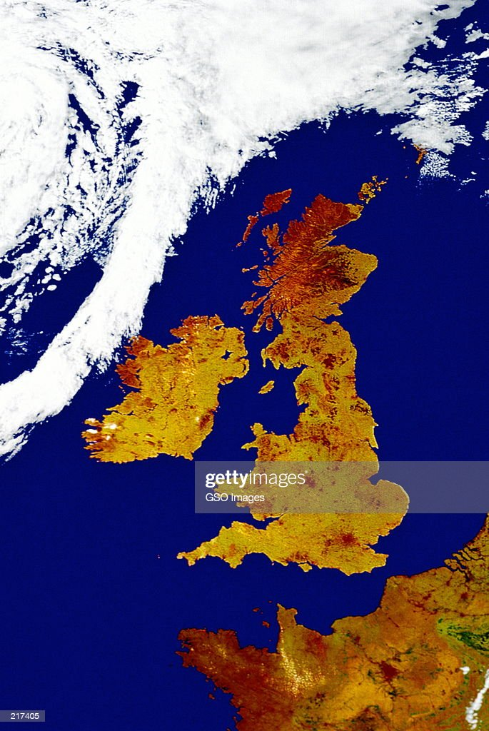 Satellite Map Of Great Britain Stock-Foto | Getty Images