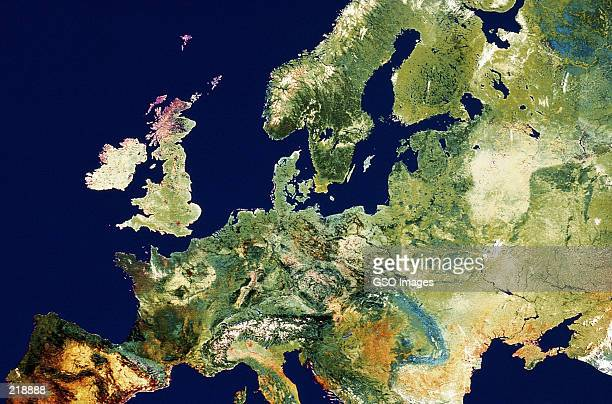 relief map of europe - europe stock-fotos und bilder