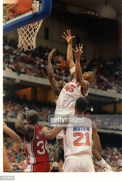 SYRACUSE ORANGEMEN CENTER OTIS HILL JUMPS UP HIGH FOR THE REBOUND DURING A BIG EAST CONFERENCE GAME WITH THE ST JOHN''S REDMEN