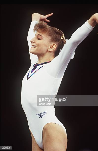 SHANNON MILLER OF THE USA IN ACTION DURING THE 1993 WORLD GUMNASTICS CHAMPIONSHIPS AT BIRMINGHAM ENGLAND