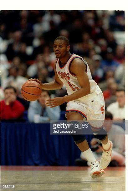 SYRACUSE ORANGEMEN GUARD ADRIAN AUTRY DRIBBLES DOWN COURT DURING A BIG EAST CONFERENCE GAME WITH THE ST JOHN''S REDMEN