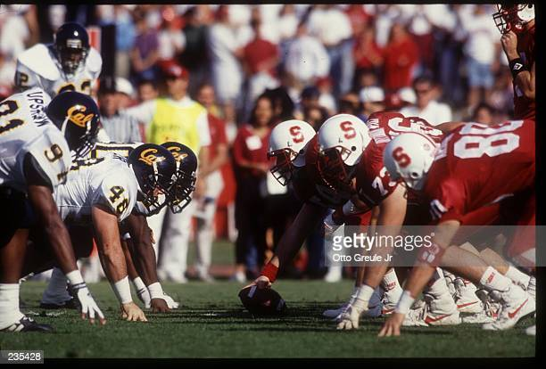 THE STANFORD OFFENSIVE LINE AND CAL DEFENSIVE LINE SET AT THE LINE OF SCRIMMAGE DURING THE GOLDEN BEARS 46-17 ROMP OVER THE CARDINAL.
