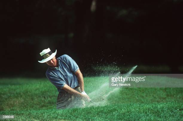 DAN FORSMAN BLASTS OUT OF A GREENSIDE BUNKER AT THE U.S. OPEN AT BALTUSROL GOLF COURSE, SPRINGFIELD, NJ.