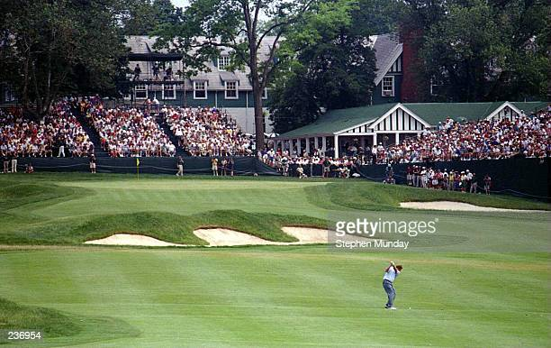 COLIN MONTGOMERIE OF SCOTLAND HITS HIS SECOND SHOT ON THE 18TH HOLE AS THE OAKMONT CLUBHOUSE STANDS IN THE BACKGROUND DURING THE SECOND ROUND OF THE...