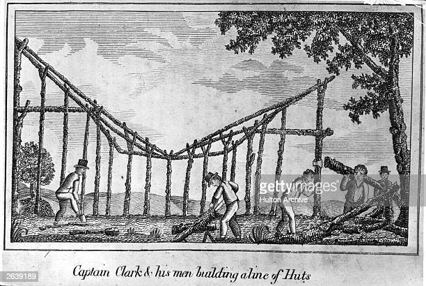 Captain Clark and his men building a line of huts Original Artwork From 'Journal of Voyages' by Peter Gass pub 1811