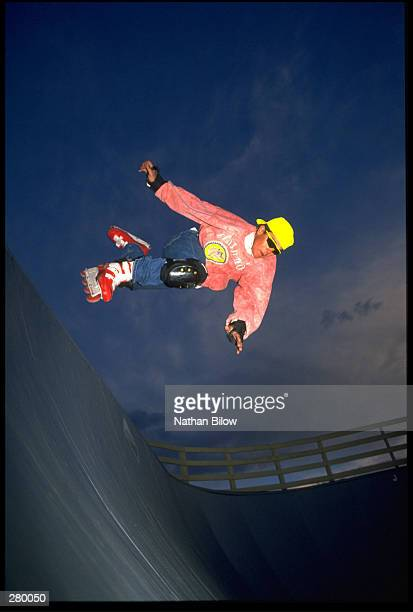 A MODEL RELEASED ROLLERBLADER RIDES A RAMP AT SUNDOWN MANDATORY CREDIT NATHAN BILOW/ALLSPORT