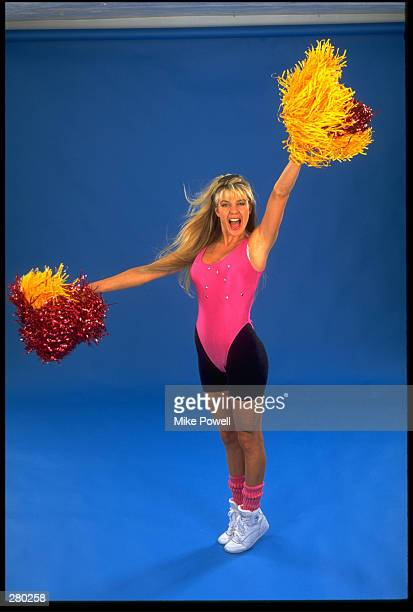 A MODEL RELEASED CHEERLEADER PERFORMS A CHEER MANDATORY CREDIT MIKE POWELL/ALLSPORT