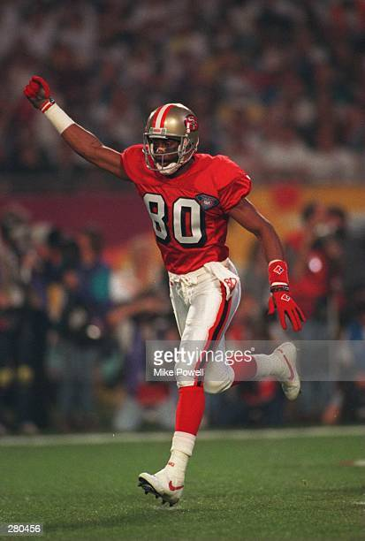 SAN FRANCISCO WIDE RECEIVER JERRY RICE CELEBRATES AFTER SCORING A TOUCHDOWN ON A PASS FROM QUARTERBACK STEVE YOUNG 1:24 INTO THE GAME DURING THE...