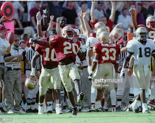 12 NOV 1994 JAMES COLZIE CELEBRATES IN FRONT OF FLORIDA STATES''S BENCH AFTER NOTRE DAME CAME UP INCHES SHORT ON A FOURTH DOWN PLAY LATE IN THE...