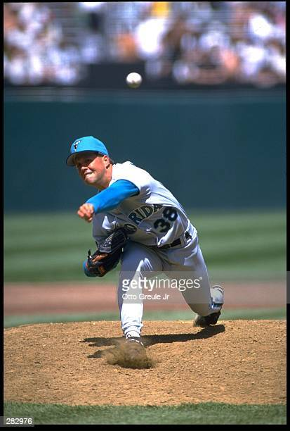 FLORIDA MARLINS PITCHER CHRIS HAMMOND RELEASES A PITCH DURING THE MARLINS VERSUS SAN FRANCISCO GIANTS GAME AT CANDLESTICK PARK IN SAN FRANCISCO...