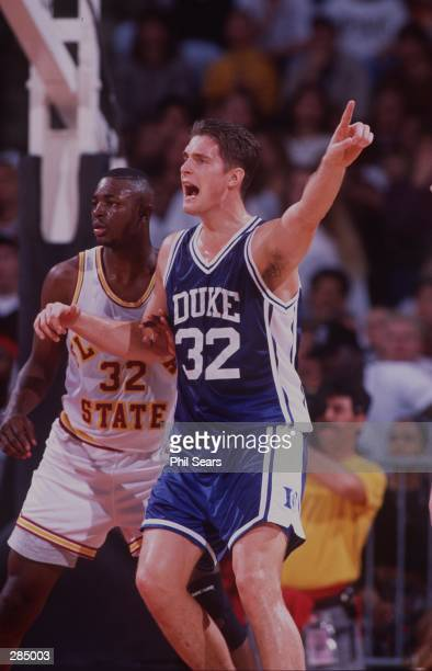 CHRISTIAN LAETTNER OF DUKE POSTS UP IN THE KEY DURING THEIR GAME AGAINST FLORIDA STATE AT THE LEON COUNTY CIVIC CENTER IN TALLAHASSEE FLORIDA