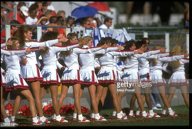 THE UNIVERSITY OF ARIZONA WILDCATS CHEERLEADERS PERFORM DURING THE WILDCATS VERSUS THE UCLA BRUINS GAME AT ARIZONA STADIUM IN TUCSON ARIZONA