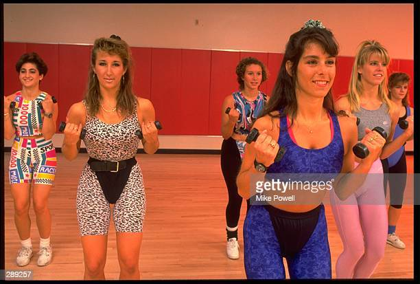 A GROUP OF MODEL RELEASED WOMEN PERFORM AN AEROBIC WORKOUT MANDATORY CREDIT MIKE POWELL/ALLSPORT