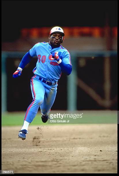 MONTREAL EXPOS OUTFIELDER TIM RAINES ROUNDS SECOND BASE DURING THE EXPOS VERSUS SAN FRANCISCO GIANTS GAME AT CANDLESTICK PARK IN SAN FRANCISCO...