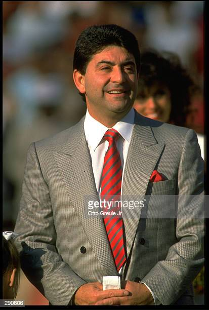 SAN FRANCISCO 49ERS OWNER ED DEBARTOLO LOOKS OUT TO HIS FOOTBALL TEAM DURING THE 49ERS 30-17 VICTORY OVER THE NEW ORLEANS SAINTS AT CANDLESTICK PARK...