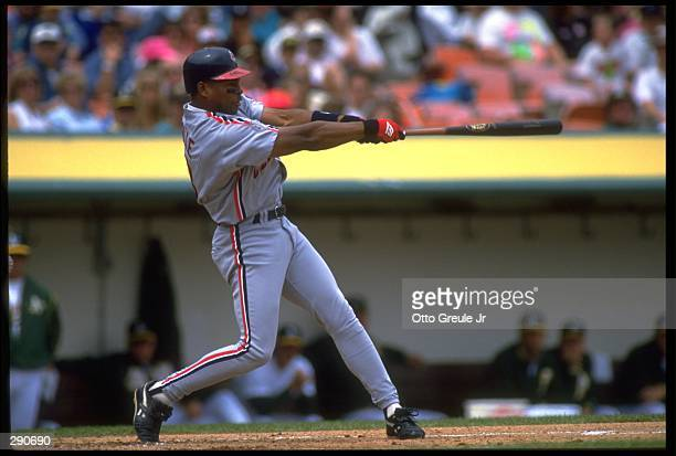 CLEVELAND INDIANS LEFT FIELDER ALBERT BELLE TAKES A SWING AGAINST THE OAKLAND A''S AT THE OAKLAND COUNTY STADIUM IN OAKLAND CALIFORNIA