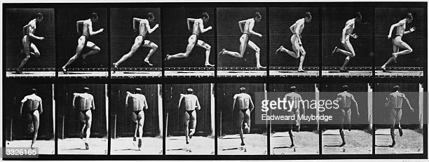 A series of stop frame photographs showing side view and back view of a man running Original Publication From 'Animal Locomotion' published 1887