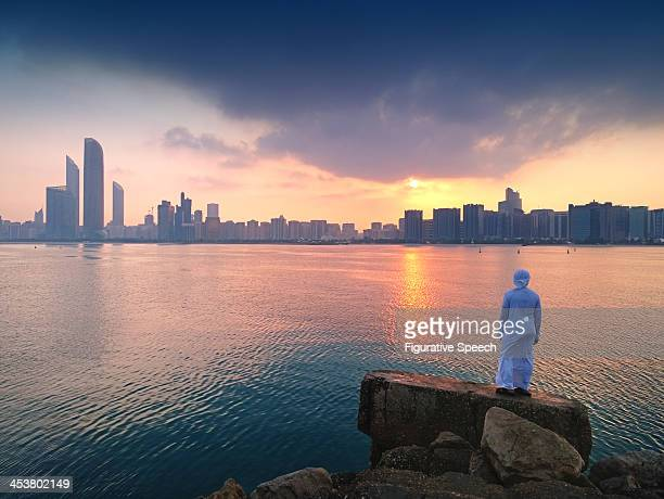abu dhabi - corniche skyline - abu dhabi stock photos and pictures