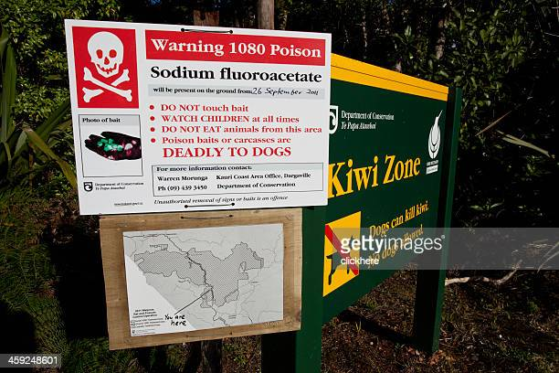 new zealand 1080 posion warning sign - opossum stock pictures, royalty-free photos & images