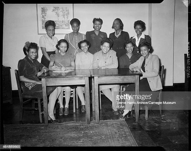 Group portrait of The Kay Hostesses seated from left Doris Foggie Clara Smith Jean Hamilton Anna Kemp Thelma Morris and Anna Howard standing Hazel...