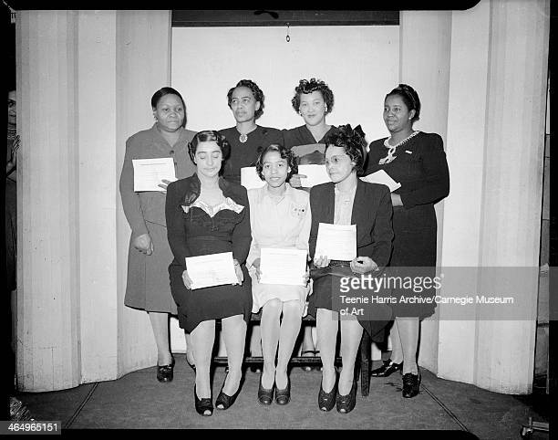 Viola Sams Coetha Mitchell Miss Rose Butler standing Bettye Young Maggie Isenhour Emma West and Mary N Smith posed in Harris Studio Pittsburgh...