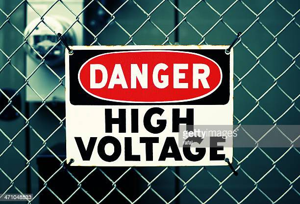danger high voltage - warning sign stock pictures, royalty-free photos & images
