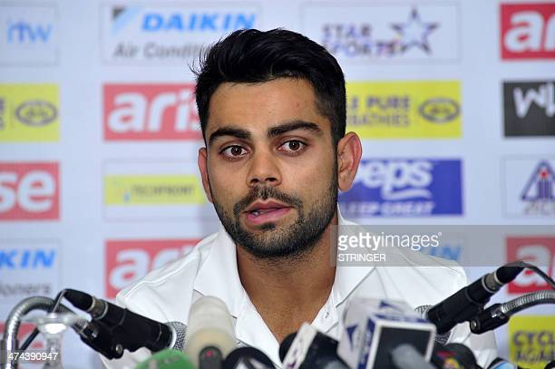 Indian cricket captain Virat Kohli speaks during a press conference in Dhaka on February 23 2014 The Asia Cup 2014 will be hosted by Bangladesh from...