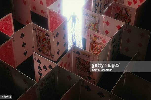 GAMBLER IN MAZE OF PLAYING CARDS
