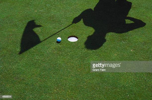 SHADOW OF GOLFER & FLAG AT HOLE WITH BALL