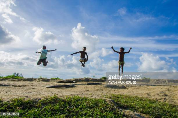 [UNVERIFIED CONTENT] THREE CHILDREN JUMPING TOWARDS SKY TO MARK THEIR SENSE OF FREEDOM