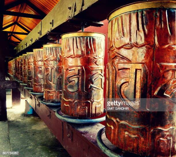 prayer wheels, buddhist temple, mussoorie, india - uttarakhand stock pictures, royalty-free photos & images
