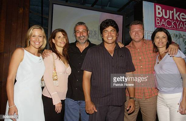 REBECCA HARRIS, TARA DENNIS, RITA HILL, SCOTT CAM AND GEOFF JANSZ WITH DON BURKE AT HIS COCKTAIL PARTY FOR THE LAUNCH OF THE NEW BURKE'S BACKYARD TV...