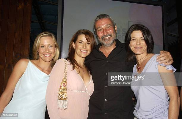 REBECCA HARRIS, TARA DENNIS AND RITA HILL WITH DON BURKE AT HIS COCKTAIL PARTY FOR THE LAUNCH OF THE NEW BURKE'S BACKYARD TV SHOW AND MAGAZINE AT THE...