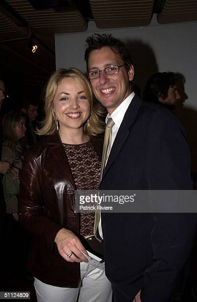 NEWSREADER MONIQUE WRIGHT AND GUEST AT SYDNEY THEATRE COMPANY'S OPENING NIGHT OF INHERITANCE AT THE DRAMA THEATER IN SYDNEY OPERA HOUSE. .