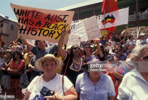 ABORIGINES PROTEST DURING THE AUSTRALIAN BICENTENARY.