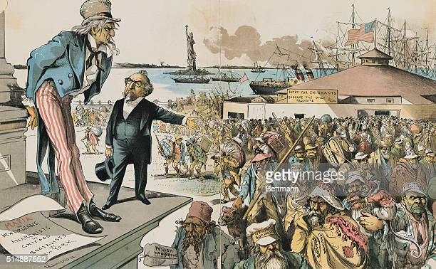 IMMIGRATION CARTOON 1891WHERE THE BLAME LIES JUDGE 'IF IMMIGRATION WAS PROPERLY RESTRICTED YOU WOULD NO LONGER BE TROUBLED WITH ANARCHY SOCIALISM THE...
