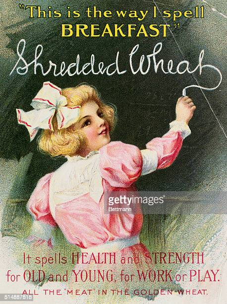 ADVERTISEMENT FOR SHREDDED WHEAT BY THE SHREDDED WHEAT COMPANY A LITTLE GIRL WITH RIBBON IN HER HAIR WRITING ON CHALK BOARD 'SHREDDED WHEAT' THE...