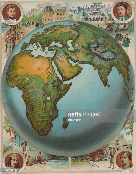HALF OF THE GLOBE SHOWING PEOPLE OF AFRICA ASIA AND EUROPEUNDATED LITHOGRAPH