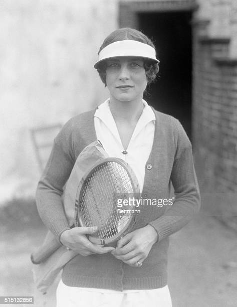 Helen Wills Holding Tennis Racket