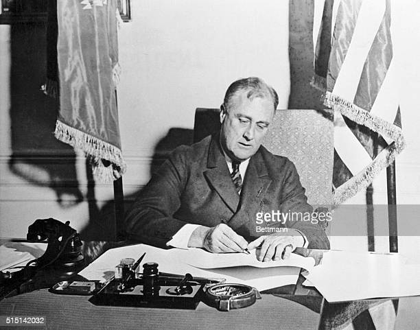 THE NEW DEAL LEGISLATION WAS ENACTED AT GREAT SPEED AS SOON AS THE SPECIAL SESSION OF CONGRESS PASSED A BILL ROOSEVELT SIGNED IT PRESIDENT AND A...