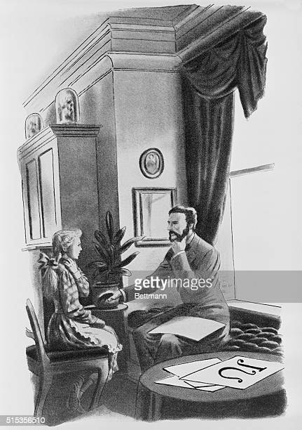 ALEXANDER GRAHAM BELL TEACHING A DEAF CHILD TO SPEAK IN 1872 HE OPENED A SCHOOL OF VOCAL PHYSIOLOGY AND MECHANICS IN BOSTONUNDATED LITHOGRAPH